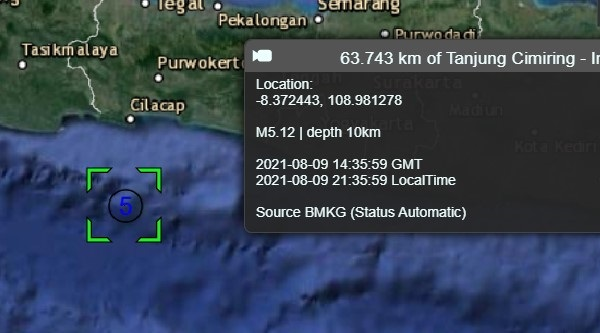 Gempabumi Tektonik M 4,8 Mengguncang Selatan Jawa, Tidak Berpotensi Tsunami